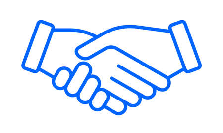 Hand shake vector icon, business partnership, deal agreement and team friendship handshake sign