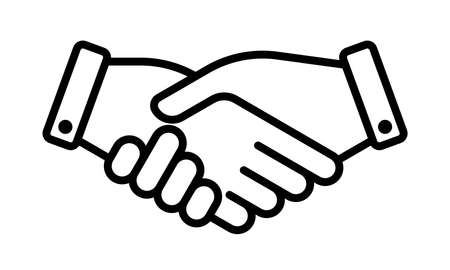 Hand shake business partner agreement vector icon. Partnership deal and friendship team handshake sign