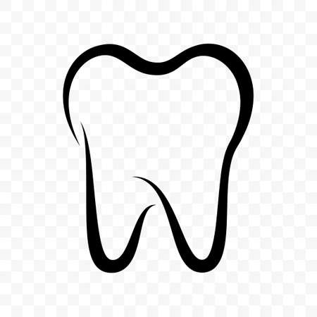 Tooth vector icon. Dentistry clinic, toothpaste and dental mouthwash package label, healthy tooth