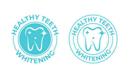 Teeth whitening, tooth vector icon. Healthy safe tooth whitening, toothpaste and dental mouthwash package stamp label Ilustração
