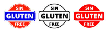 Gluten free icon, Spanish Sin Gluten food package stamp. Vector gluten free healthy products package label Ilustração