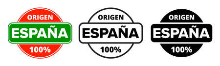 Made in Spain, Origen Espana product label stamp. Vector Spanish made 100 percent premium quality production package icon