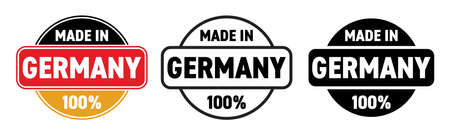 Made in Germany vector icon. German made quality product label, 100 percent package logo stamp