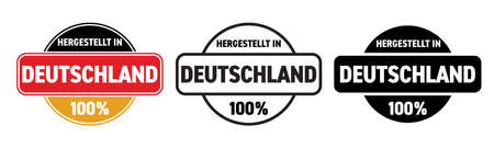 Made in Germany vector icon. Hergestellt in Deutschland, German made quality product label, 100 percent package stamp Illusztráció