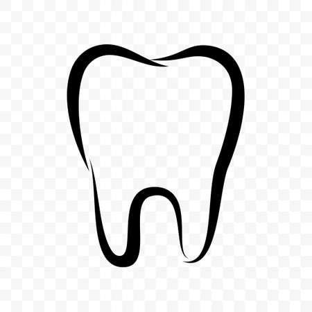 Tooth outline vector icon. Dentistry clinic, toothpaste and dental mouthwash package label, healthy tooth 向量圖像