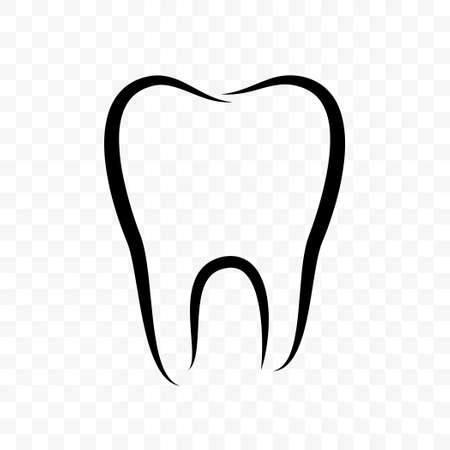 Tooth outline vector icon. Dentistry clinic, whitening toothpaste and dental mouthwash package label, healthy white tooth