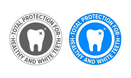 Tooth logo for toothpaste and teeth whitening. Vector dental clinic and tooth dentist approved certification label, total protection for white and strong teeth seal stamp Ilustração