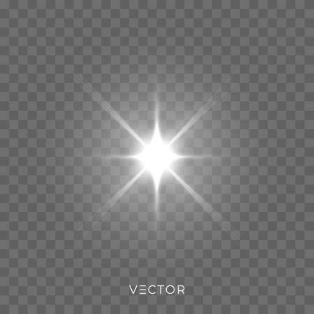 Star light shine, starlight rays lens flare effect on transparent background. Vector Christmas glitter bright sparkle Ilustração