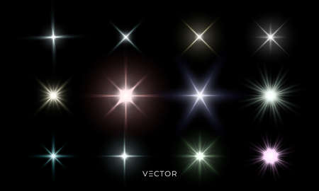 Glowing star lights effect, lens flare and bright explosion effect. Vector isolated color star light flash and sparkle rays set on transparent background