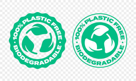 Biodegradable plastic package label. Vector compostable and bio recyclable eco friendly green leaf stamp 向量圖像