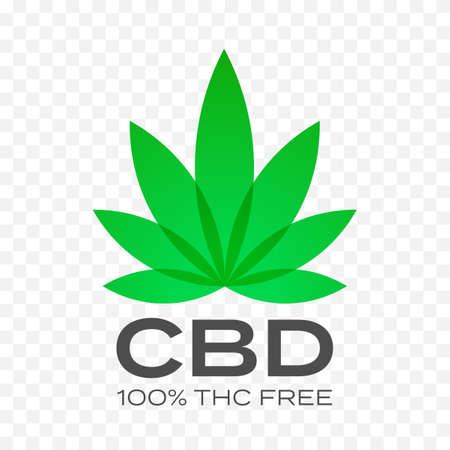 CBD free cannabis leaf vector icon. 100 percent cannabis THC free, medical canabis hemp stamps Ilustração