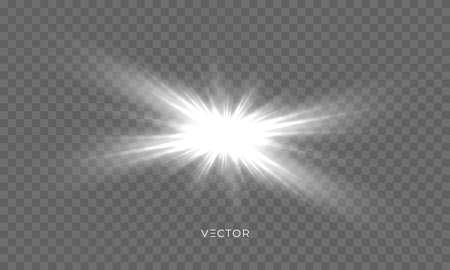 Star shine, sun light glow sparks, vector bright sparkles with lens flare effect. Isolated sun flash and starlight with shiny rays on transparent background Ilustração
