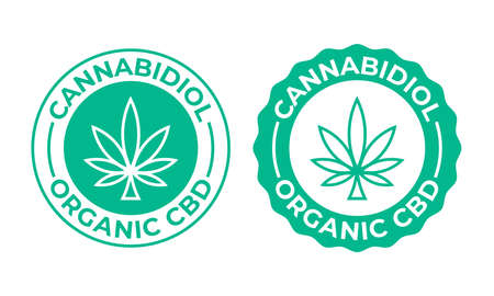 Canabis leaf vector icon. Produced 100 percent organic cannabis or hemp cosmetics and natural pharmaceutical stamp Ilustração