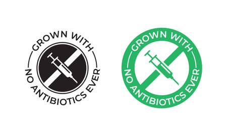 Grown with no antibiotics food label stamp, no hormones chicken and beef or pork meat vector Ilustração