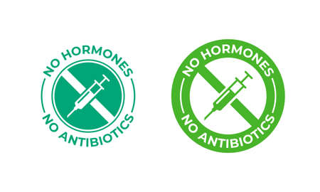 No antibiotics food label stamp, hormones free farm grown chicken and beef or pork meat vector Ilustração