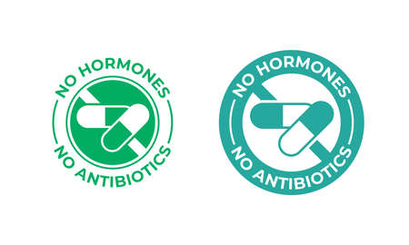 No antibiotics and hormones free farm grown food label vector health certificate stamp. Natural chicken and beef or pork meat, antibiotics free products seal
