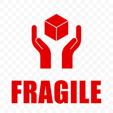 Fragile icon, handle with care logistics shipping. Fragile package delivery, hands and box warning vector sign, isolated on transparent background