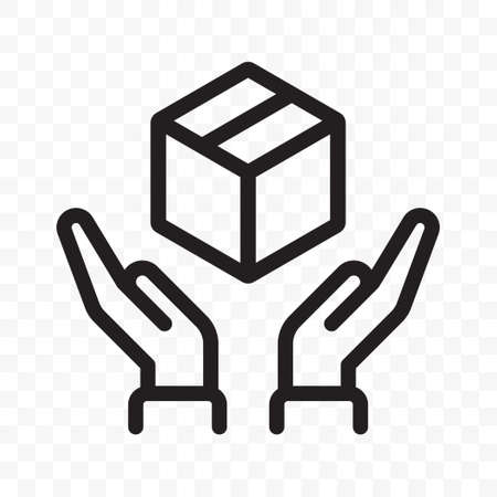 Fragile icon, handle with care logistics and delivery shipping label. Fragile package, hands and parcel box warning outline vector sign Ilustração