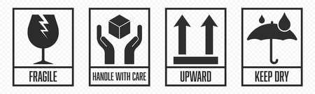 Ensemble d'icônes de colis fragiles, manipulez avec soin la logistique et les étiquettes d'expédition de livraison. Boîte fragile, garder le parapluie au sec, panneaux vectoriels d'avertissement de cargaison