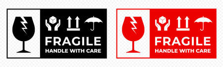 Fragile package icons set, handle with care logistics and delivery shipping labels. Fragile box, keep dry and glass caution warning vector signs