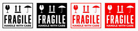 Fragile box, handle with care logistics package vector icons set. Fragile cargo shipping warning, glass, keep dry umbrella and this side up vector signs