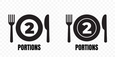 2 portions, food meal package vector icons. Plate with fork and knife label for two portions food recommendation sign