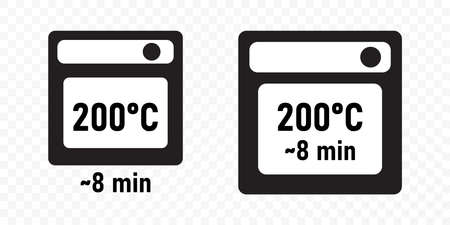 Food cooking oven instruction with temperature and minutes time, vector icons. Microwave and baking in oven recommendations, package label templates