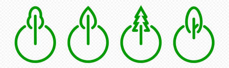 Green energy icon, eco power on mode button logo. Nature ecology, recycling and environment conservation, turn on eco-friendly creative idea concept, tree and green switcher emblem