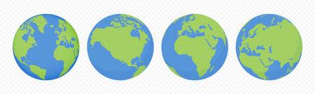 World earth globes, vector icons set. Earth planet continents map. Travel, ecology and geography world globe symbols Illusztráció