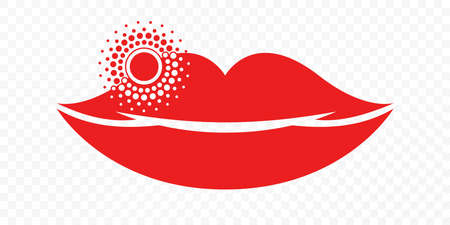 Lips herpes cold sore inflammation vector icon. Labial Herpes simplex infection symbol for medicine treatment or herpes treatment lipstick package