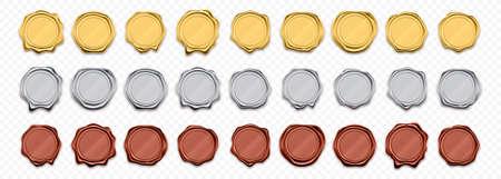 Sceaux de cire, timbres dorés et argentés, étiquettes de garantie réalistes vectorielles. Modèles de sceaux de cachet de cire or et rouge brillant, garantie de qualité et certificats de garantie