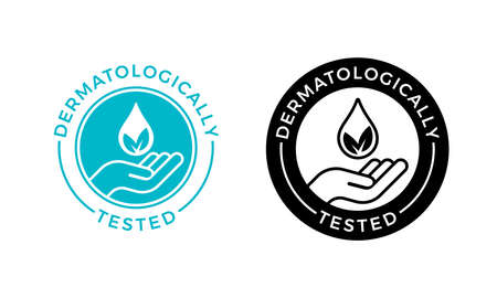 Dermatologically tested vector label with water drop, leaf and hand. Dermatology test and dermatologist clinically proven icon for allergy free and healthy safe product package tag Ilustração