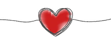 Heart hand drawn sketch doodle, vector tangled thin line thread divider with red background. Valentine day love, wedding, birthday or charity heart design, scribble shape