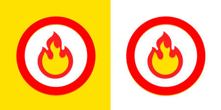 Fire flame burn, vector sign symbol. Burning fire flame icon outline, flammable and spicy hot circle sign