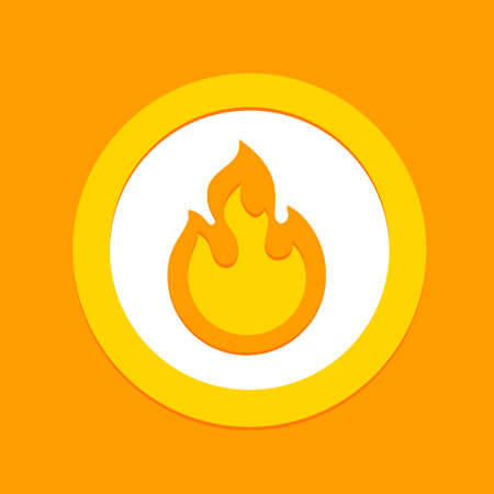 Fire flame vector sign symbol, flammable warning or spicy food label. Burning hot fire flame simple flat icon