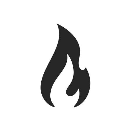 Fire flame burn, vector black line icon. Flammable warning or spicy food label, burning hot fire flame sign
