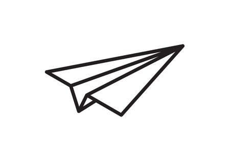 Paper plane vector thin line icon. Paper airplane fly flat simple sign Ilustração