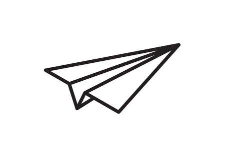 Paper plane vector thin line icon. Paper airplane fly flat simple sign Illusztráció