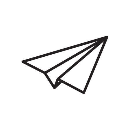 Paper plane vector thin line icon. Paper airplane jet fly flat simple sign for travel, express delivery or message send Ilustração