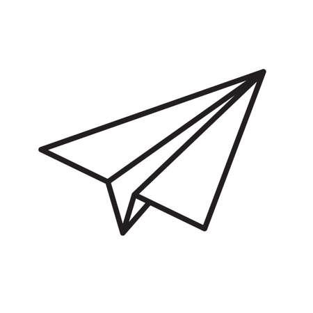 Paper plane vector thin line icon. Paper airplane jet fly flat simple outline icon Illusztráció