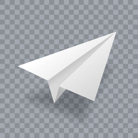 Paper plane vector realistic 3D model. White paper airplane jet isolated on transparent background Illusztráció