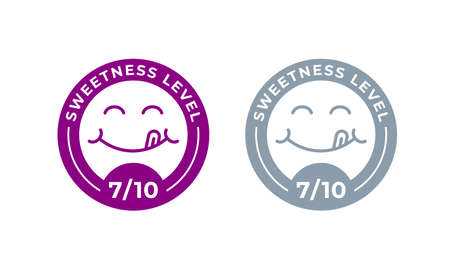 Sweetness level vector food package label. Product sugar sweet level, yummy tongue icon