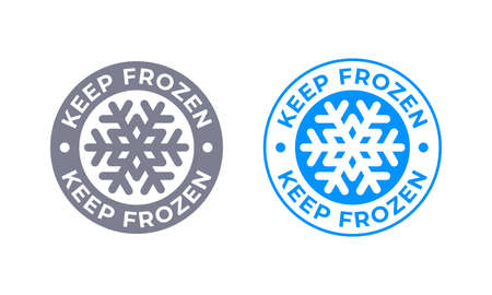Keep frozen vector food product package label. Keep frozen in fridge, snowflake icon