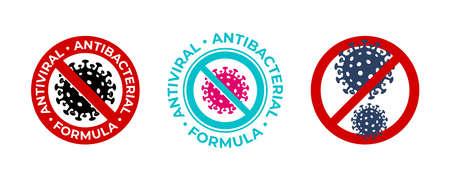 Antiviral antibacterial coronavirus formula vector icons. Coronavirus 2019 nCov, Covid 19 NCP virus stop signs, health protection, hand sanitizer labels