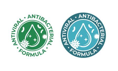 Antiviral antibacterial coronavirus formula vector icons. Coronavirus 2019 nCov, Covid 19 NCP virus protection, clean health safe labels Vettoriali