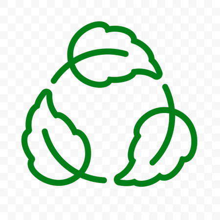 Biodegradable recyclable label, plastic free vector icon. Eco safe bio recyclable, degradable package stamp, green leaf recycle logo Vettoriali