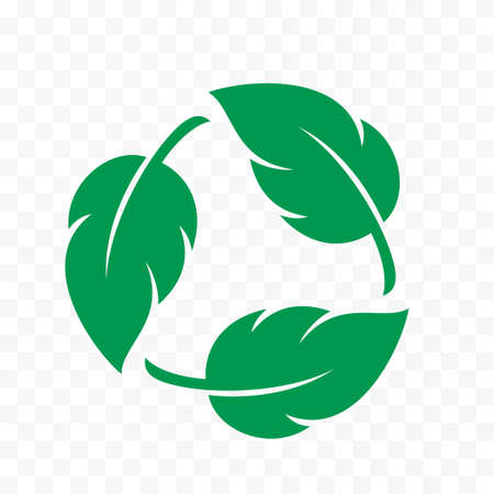 Biodegradable icon, recyclable and plastic free vector label. Eco safe and bio recyclable, degradable package stamp, green leaves logo Vettoriali
