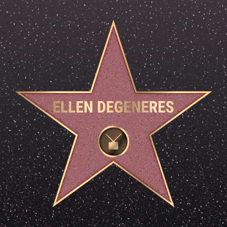 Warsaw, Poland - May 17, 2020: Hollywood star on celebrity walk of fame boulevard. Ellen DeGeneres iconic tv show star name on celebrity walk of fame on black floor background with light texture Editoriali