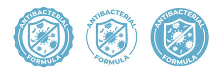 Antibacterial hand gel icon, vector shield  , anti bacterial antiseptic hand wash. Covid coronavirus clean hygiene label, medical antibacterial alcohol sanitizer protection, antiviral shield Vettoriali