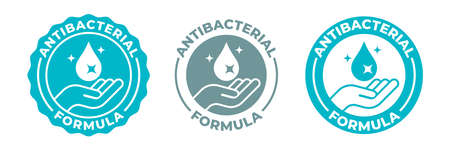 Antibacterial hand gel sanitizer icon, vector anti bacterial formula antiseptic hand wash logo. Antibacterial alcohol sanitizer, Covid coronavirus clean hygiene medical hands protection